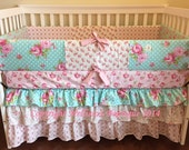 Custom for vmarissa Shabby Chic Vintage Roses Boutique Crib Bumper Bedding MADE To ORDER