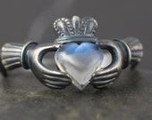 Moonstone Claddagh ring in sterling silver