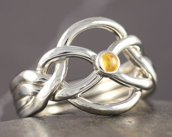 Citrine puzzle ring in sterling silver