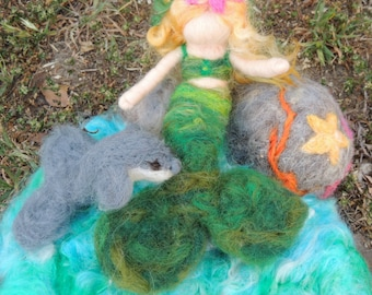 Mermaid and Dolphin Play Set-  Needle felted soft wool sculpture Waldorf Inspired