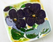 Fused Glass Purple Flowers Rounded Square Trinket Dish