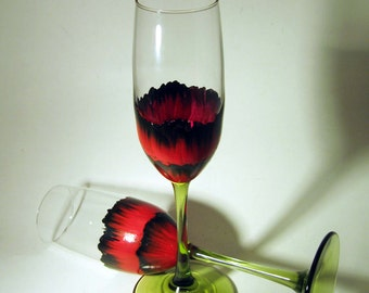 Hand Painted Red and Black Poppy Toasting Flutes