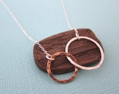 Silver Gold Two Tone Circles Pendant Eternity Necklace, Mother Daughter Jewelry, Gift for Best Friend Friendship Two Ring Charm, made in USA