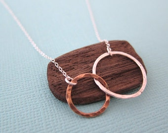 Reserve for Gin - Small Silver Gold Two Tone Circles Pendant Eternity Necklace,  Gift for Best Friend Friendship Two Ring Charm, made in USA