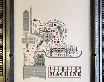 The Alphabet Machine Letterpress Print