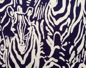 "lilly pulitzer's bright navy full entourage vintage dobby cotton fabric square 18""x18"""