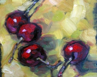 CHERRIES IN LIME. Oil Painting, Vermont country art, Archival Print of original painting 8 by 10 and other sizes available