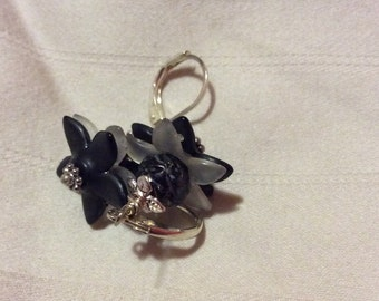 Black  and White Lucite Flowered Earrings