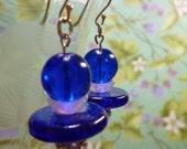 earrings Cobalt Blue and Rhinestone