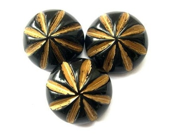 6 Buttons, vintage, black, gold color rays, 28mm, 11mm height
