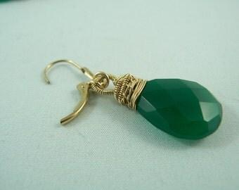 Green Onyx Gold Filled Earrings