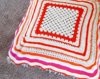 Vintage crochet orange pink afghan blanket floor pillow cover home decor throw