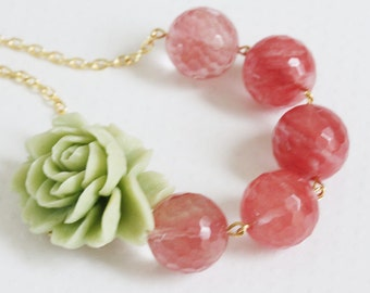 Flower Necklace Pink Statement Necklace Bridesmaid Jewelry Pink Wedding Jewelry