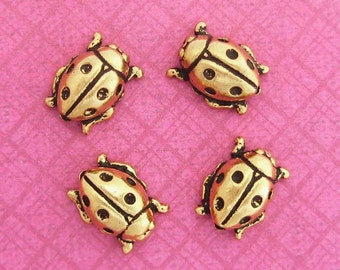 Set of 4 TierraCast Ladybug Beads, Gold Tone, 10mm x 8mm, Realistic 3D and two-sided, Lengthwise Hole, Great for Spring DIY Jewelry Crafts