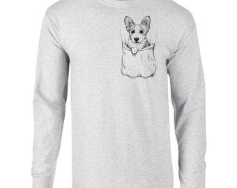 Long Sleeve Corgi in Pocket Dog Art T-Shirt