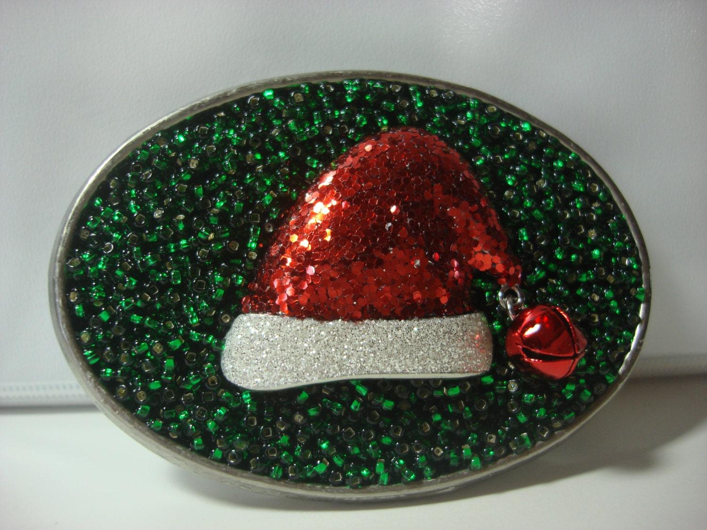 Christmas Belt Buckle Santa's Hat by MnMTreasures on Etsy