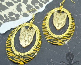 ROAR HOOPS - ZEBRA Stripe and Cheetah Gold Laser Cut Acrylic Charm Hoop Earrings