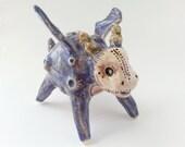 Clay Dragon Sculpture, Purple Dragon Ceramic Figurine, Dragon Art