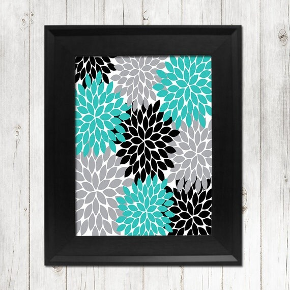Turquoise Gray Black Flower Wall Art Bedroom Picture By