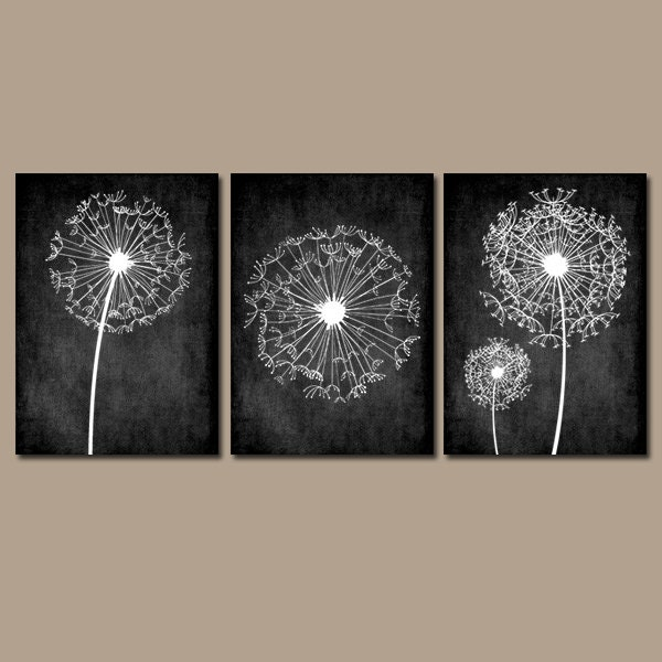 Dandelion wall art flower black white chalkboard custom for Black and white bathroom wall decor