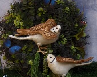 Primitive Dove Pair, Soft Sculpture Bird, Primitive Bird, Dove