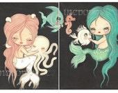 Mermaid Print Set---Nautical Girl Octopus Nap, Fish Kissing Booth Children Wall Art 5 x 7's