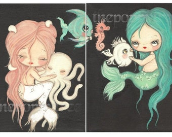 Mermaid Print Set---Nautical Girl Octopus Nap, Fish Kissing Booth Children Wall Art 5 x 7's