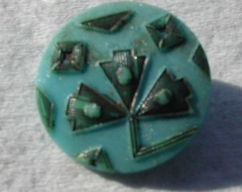Antique Victorian Turquoise Glass Button
