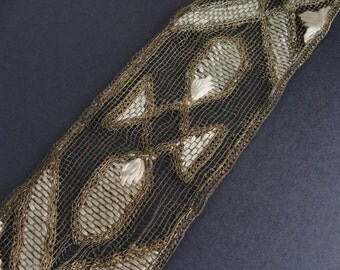 Antique Gold Metallic Lace Trim with Embroidery