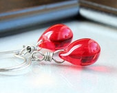 Red Glass Earrings   Oxidized Silver   Teardrop Earrings   Dangle Drop Glass Jewelry Bright  Color Jewellery  Colored  Jewelry Gifts For Her