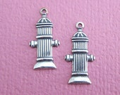 2 Silver Fire Hydrant Charms 3597H