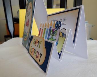 Handmade Birthday Card: side step design, complete card, handmade, balsampondsdesign, blue tones, 5x7, child birthday, cake