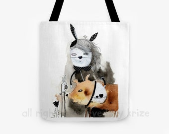 Beautiful Illustration Tote Bag, Whimsical Art, Bunny, Wearable Art