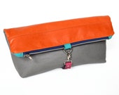 Leather Foldover Clutch / Oversized Clutch / Toiletry Travel Bag - The Lulu Foldover Clutch in Orange and Granite Grey