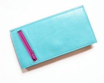 Womens Travel Wallet, Passport Holder, Leather Travel Organizer, Wife Gift, The Stella Travel Wallet Clutch in Light Turquoise