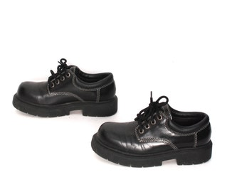 size 7 SKECHERS black leather 80s 90s CHUNKY PLATFORM lace up ankle boots