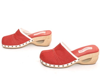 size 9 CLOGS red 80s 90s SKECHERS slip on WOODEN sandals mules