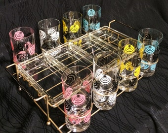 Vintage Deadstock 50s SWIRL Turquoise pink black yellow white drinking Glass 13 pc Set Caddy snack serving trays Party Bar