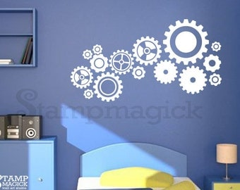 Gears Decal - Gears Wall Decal for Boys Room or Nursery - machine parts vinyl stickers wall decor children kids - K154