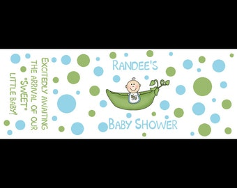 120 Personalized Baby Shower Mini Candy Labels - Blue  Sweet Pea - Hershey Nugget Labels
