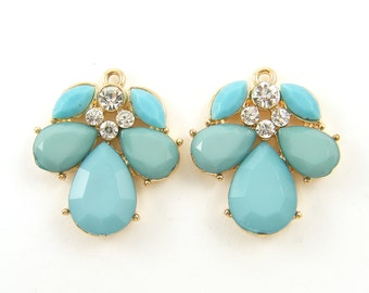 Aqua Chandelier Earring Finding Teal Turquoise Rhinestone Earring Dangles Aqua Earring Drop Bridesmaid Wedding Jewelry Supply |B2-3|2