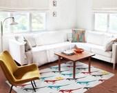 Decorative Rug, colorful rug, bird carpet, nursery rug , modern decor, contemporary rug, kids carpet, living room decor