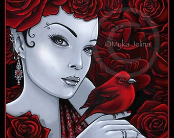 Gothic Red Bird Roses Fairy Scarlet Fantasy Art 8x10 Signed PRINT