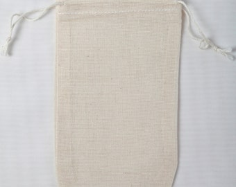 100 3.25x5 inch  Double Drawstring Cotton Muslin Bags