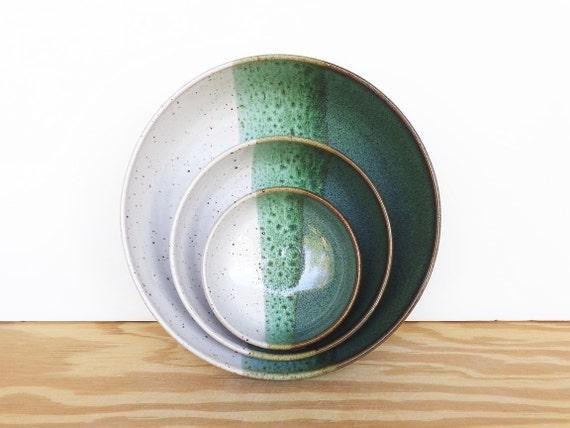 Stoneware Pottery Nesting Ceramic Bowls in Sea Mist and Glossy White Glaze - Set of 3