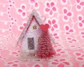 SALE Vintage Putz Style Miniature Pink Valentines Glitter Sugar House with a Red Tree and a Roof that says Baby Be Mine  Village Ornament