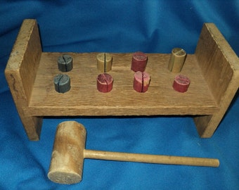 Vintage Pound A Peg Toy With Hammer