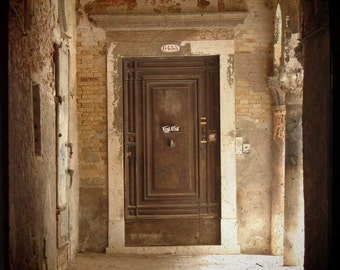Merchant of Venice - One of Many (Italy travel photography print faded brown wood door beige brick stone photo, vintage classic historical)