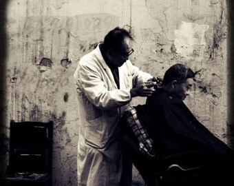 Old Shanghai - My Barber, My Friend (black and white street photo print, vintage editorial human condition, China travel photography)