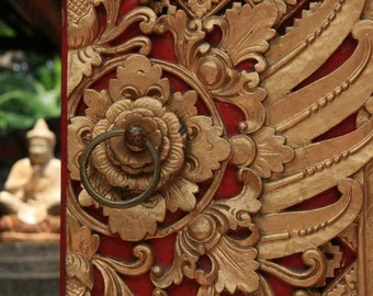 Bali Treasures - Inner Buddha (Indonesia travel photography print, red gold intricate ornate carved wood door statue photo print, zen Asian)